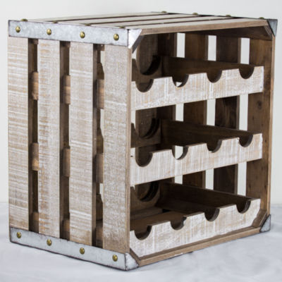 12 Bottle Rustic White Wood Crate Square Wine Rack