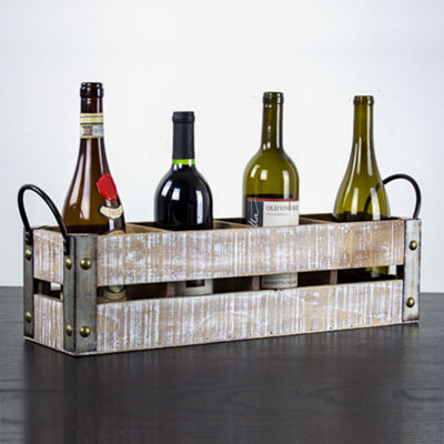 4 Bottle Rustic White Wooden Crate Wine Rack