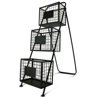 Contemporary Storage Organizer Free Standing Magazine Rack with Baskets