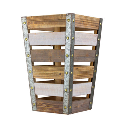 American Art Decor Rustic Tapered Wooden Storage Crate