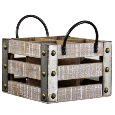4 Bottle Rustic White Wood Crate Square Wine Rack