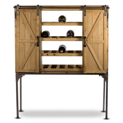 American Art Decor Rustic Wood Wine Rack Barn Door Glassware Cabinet