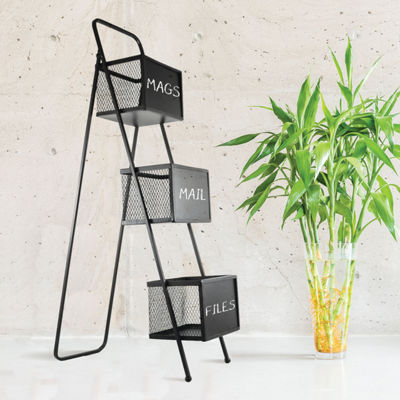 Metal Storage Organizer Free Standing Magazine Rack with Chalkboards