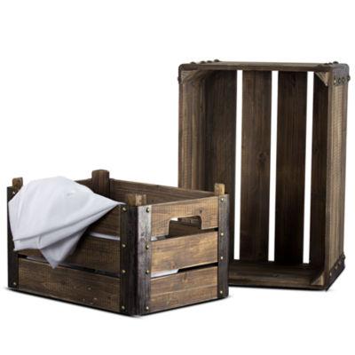 2 Piece Rectangular Rustic Wooden Storage Crates