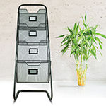 Decorative Free Standing Storage Magazine Rack Basket with Four Compartments