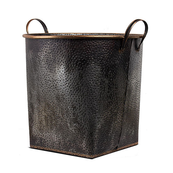 American Art Decor Metal Storage Basket with Bronze Detail