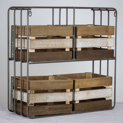 American Art Decor Shelf Organizer with Storage Crates