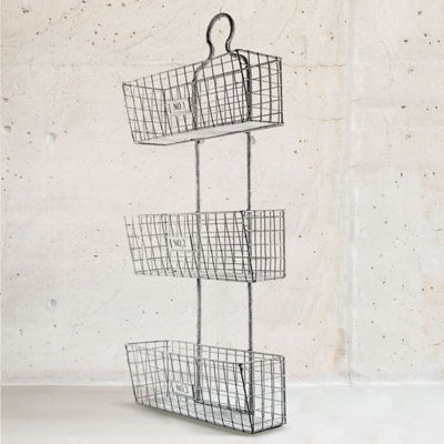 Three Tier Storage Hanging Metal Wire Baskets Wall Art Décor