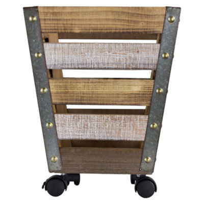 American Art Decor Rustic Wooden Metal Storage Bin Crate with Wheels