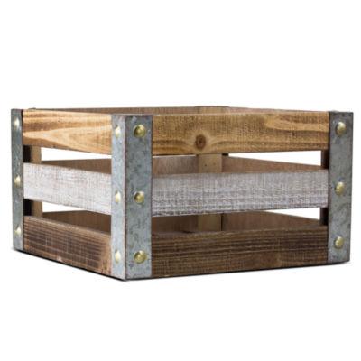 American Art Decor Rustic Square Wooden Storage Crate Vintage Farmhouse Decor