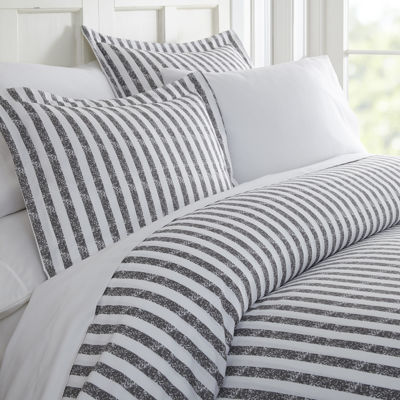 Casual Comfort Premium Ultra Soft Puffed Rugged Stripes Duvet Cover Set