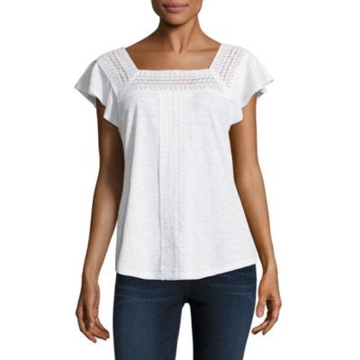 Liz Claiborne Flutter Sleeve Square Neck Lace Trim T-Shirt-Womens