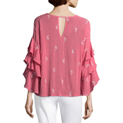 Liz Claiborne Tiered Sleeve Embroidered Woven Blouse