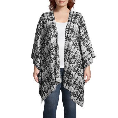 Boutique + Long Sleeve Printed Kimono - Plus