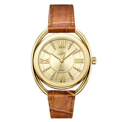 JBW 1 Diamond At .01ctw Womens Brown Strap Watch-J6357a