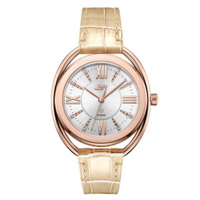JBW 1 Diamond At .01ctw Womens Brown Strap Watch-J6357e