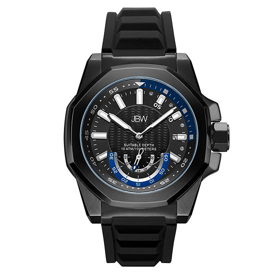 JBW Genuine Diamond Accent Mens Multi-Function Diamond Accent Black Strap Watch-J6359a