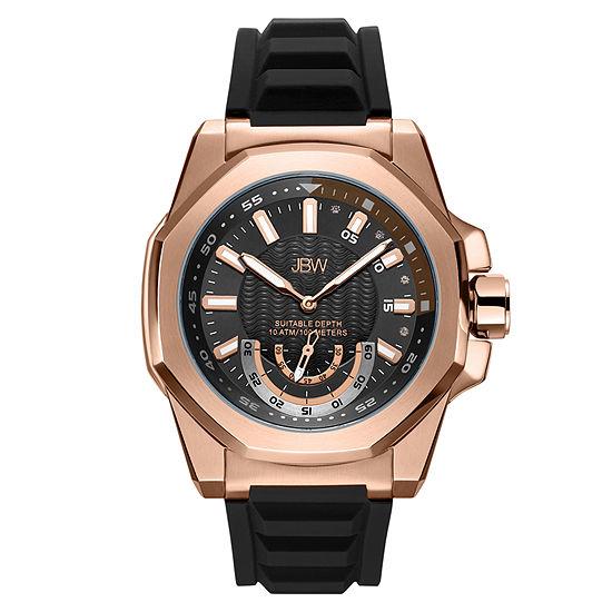 JBW 4 Diamonds At .04ctw Mens Black Strap Watch-J6359b