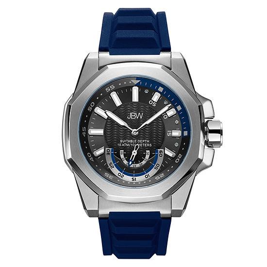 JBW Genuine Diamond Accent Mens Multi-Function Diamond Accent Blue Strap Watch-J6359c