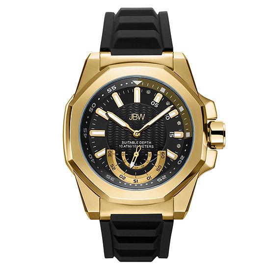 JBW Genuine Diamond Accent Mens Multi-Function Diamond Accent Black Strap Watch-J6359d