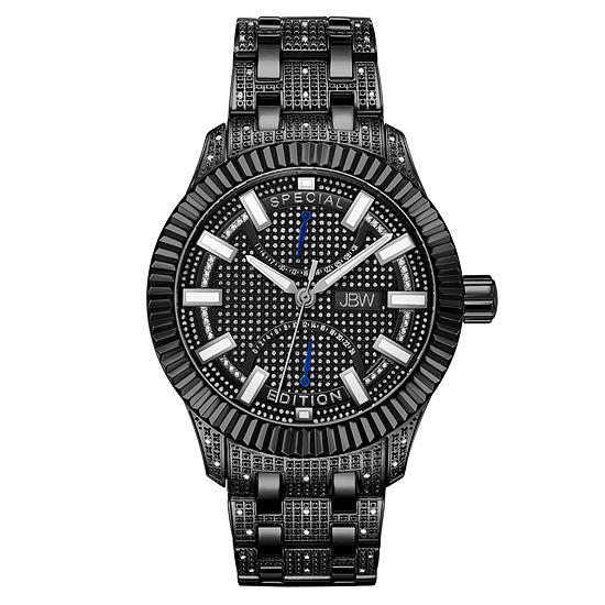 JBW 1/2 Ct. T.W. Genuine Diamond Mens Multi-Function Diamond Accent Black Stainless Steel Bracelet Watch-J6363d