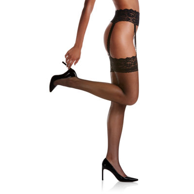 Berkshire Fishnet Thigh Highs With Garter- Plus