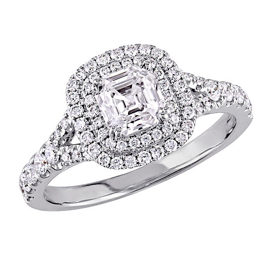 Womens 1 1/5 CT. T.W. Genuine White Diamond 14K White Gold Engagement Ring