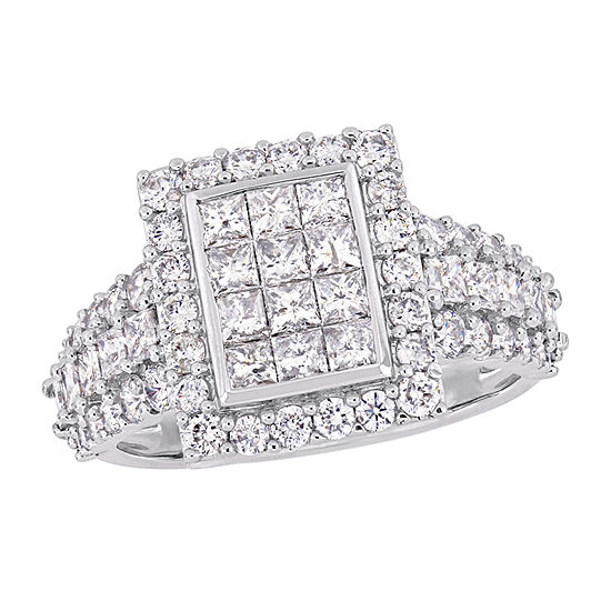 Womens 2 CT. T.W. Genuine White Diamond 14K White Gold Engagement Ring