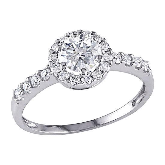 Womens 1 Ct Tw Genuine White Diamond 14k White Gold Engagement Ring