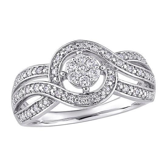 Womens 1/4 CT. T.W. Genuine White Diamond 10K White Gold Engagement Ring