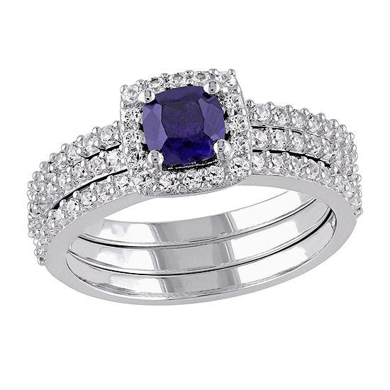 Modern Bride Gemstone Womens Lab Created Blue Sapphire Sterling Silver Bridal Set