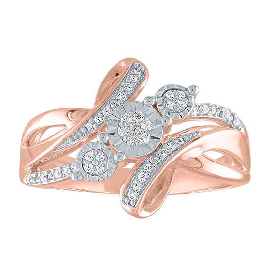 Womens 1/10 CT. T.W. Genuine White Diamond 14K Rose Gold Over Silver Crossover Cocktail Ring