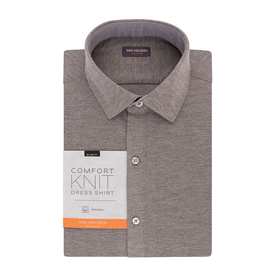Van Heusen Traveler Knit Slim Fit Long Sleeve Knit Dress Shirt - Slim