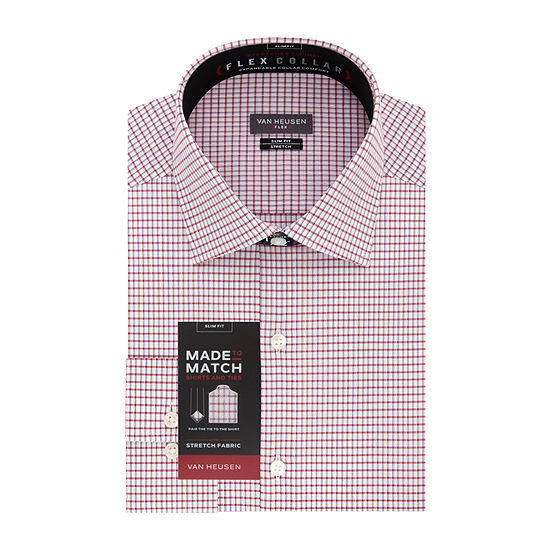 Van Heusen Made To Match Mens Point Collar Long Sleeve Wrinkle Free Stretch Dress Shirt - Slim