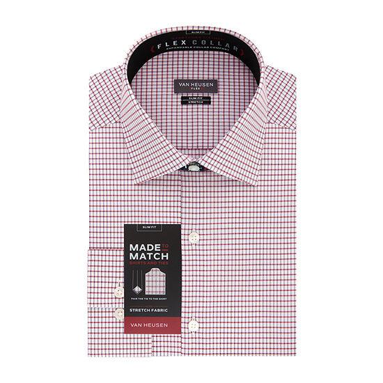 Van Heusen - Slim Made To Match Mens Point Collar Long Sleeve Wrinkle Free Stretch Dress Shirt