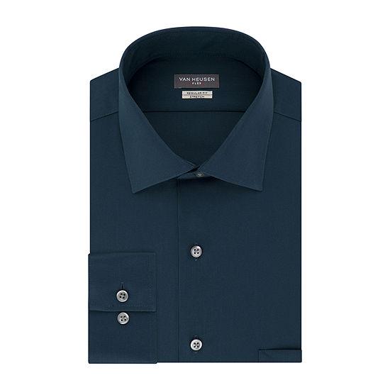 Van Heusen Flex Collar Reg Stretch Mens Spread Collar Long Sleeve Wrinkle Free Stretch Dress Shirt