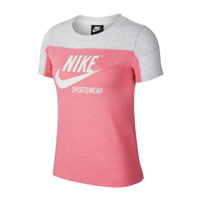 Nike Gym Vntg  Ss Colorblock Tee-Womens Crew Neck Short Sleeve T-Shirt