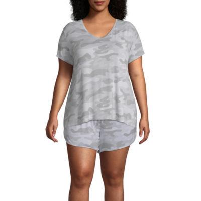 Ambrielle Womens-Plus Knit Pajama Top V Neck