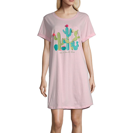 Peace Love And Dreams Womens Nightshirt Short Sleeve Crew Neck