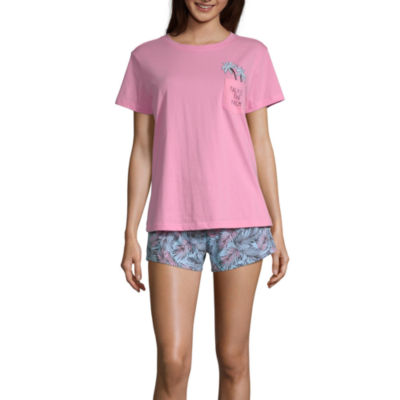 Peace Love And Dreams Womens Shorts Pajama Set 2-pc. Short Sleeve