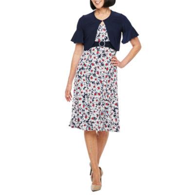 Perceptions Short Bell Sleeve Floral Puff Print Jacket Dress