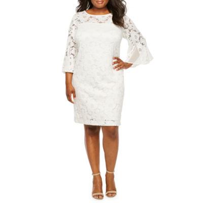 Studio 1 3/4 Bell Sleeve Lace Shift Dress-Plus
