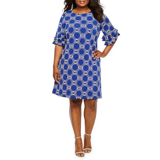 Ronni Nicole Short Tiered Sleeve Circle Puff Print Shift Dress-Plus
