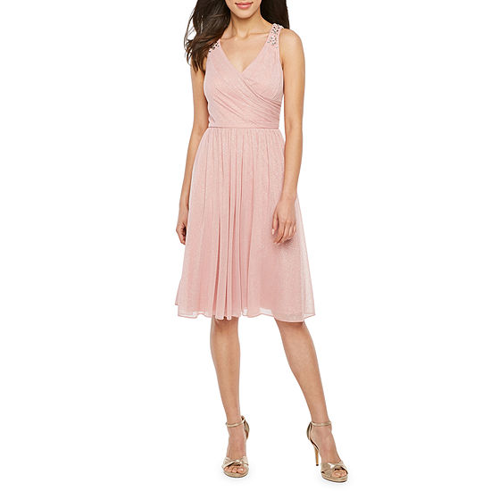 Jessica Howard Sleeveless Beaded Fit & Flare Dress