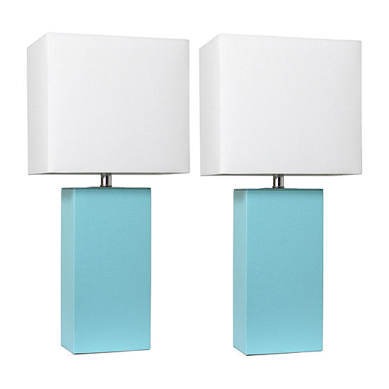 2 Pack Leather Lamp Aqua 2-pc. Manufactured Wood Table Lamp