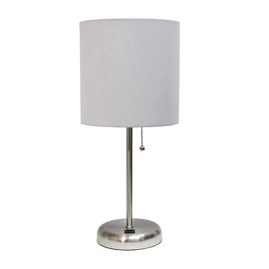 Stick Lamp With Usb Port Gry Iron Table Lamp