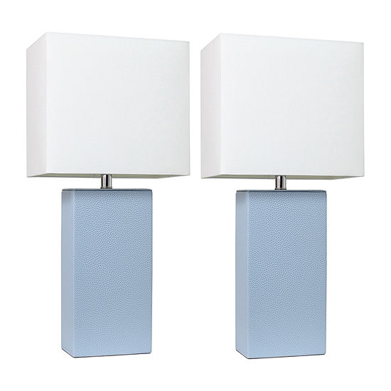 2 Pack Leather Lamp Periwinkle 2-pc. Manufactured Wood Table Lamp