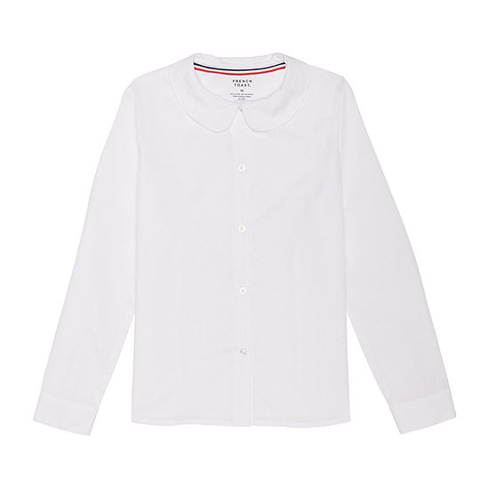 French Toast Long Sleeve Peter Pan Collar Blouse - Girls 4-20 and Plus