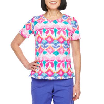 Alfred Dunner-Womens Crew Neck Short Sleeve T-Shirt Petite
