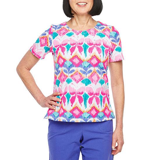 Alfred Dunner Petite-Womens Crew Neck Short Sleeve T-Shirt